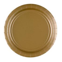 Assiettes en carton dorées diamètre 23cms