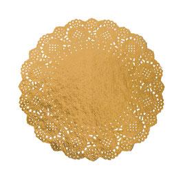 6 napperons en papier dorés effet dentelle 26.5cms diamètre