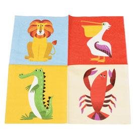 20 petites serviettes animaux colorés