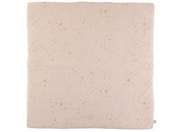 Tapis de jeu et tapis pour tipi carré Colorado rose pastel étoiles dorées Nobodinoz