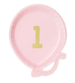 12 Assiettes Ballons Rose Pastel Chiffre 1 Doré
