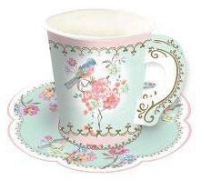12 Gobelets Tasses avec Soucoupes Fleurs et Oiseaux