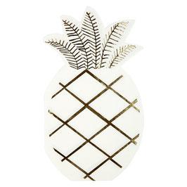 16 serviettes ananas blanc et or meri meri