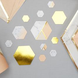Confettis de table effet marbre, pêche et dorés