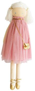 Poupée en tissu avec tutu vieux rose, cheveux en laine et petit sac doré Alimrose 64cms