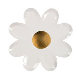 8 assiettes marguerites blanches avec coeur doré meri meri