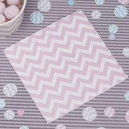 20 Petites serviettes en papier pastel chevron rose clair