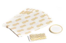 8 sachets ananas dorés avec étiquettes et corde