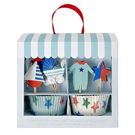 Set caissettes cupcakes bleus et décoration piques bébé