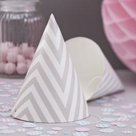 8 Chapeaux en carton motif chevron gris clair