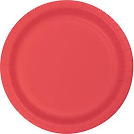 24 assiettes en carton couleur corail