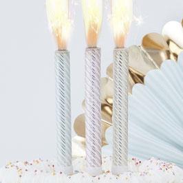 3 bougies fontaines pastels pour gâteau