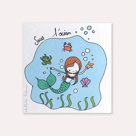 6 invitations anniversaire Sirène avec 6 enveloppes blanches , Mathilde Cabanas