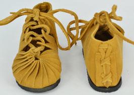 chaussures fille cuir lacées coloris camel clair