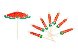 24 parasols pastèque en papiers pour décoration cocktails, glaces Sunnylife