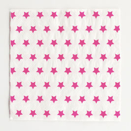 20 serviettes en papier étoiles fuchsias my little day