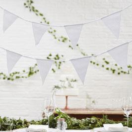 Guirlande fanions triangles en coton blanc