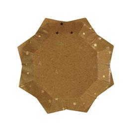 8 petites assiettes étoiles couleur kraft avec étoiles dorées meri meri
