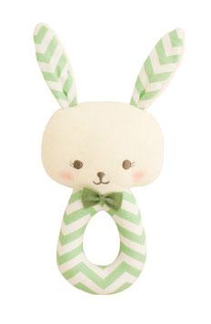 Hochet rond lapin chevron vert Alimrose