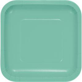 18 petites assiettes carrées en carton vert pastel 17cms