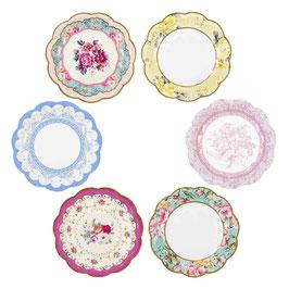 12 petites assiettes fleurs vintage