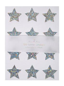 120 stickers étoiles paillettes argent meri meri