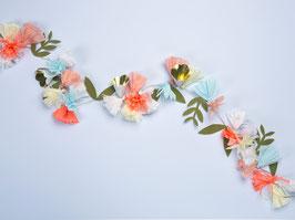 Guirlande fleurs en papier pastel, orange fluo et doré