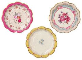 12 Petites Assiettes Fleurs Retros