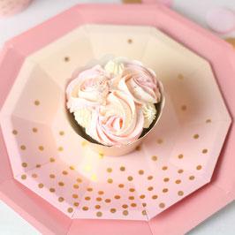 10 Petites assiettes dégradées roses et pêche, pois rose gold