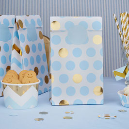 5 pochettes fond blanc pois bleu ciel et dorés pour cadeaux