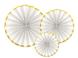 3 rosaces blanches bordure dorée
