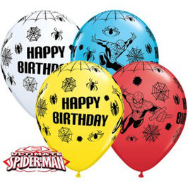 4 ballons blanc, bleu, jaune, rouge Happy Birthday Spiderman