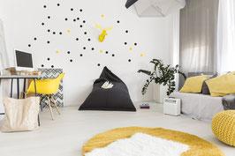Stickers muraux pois noirs et jaunes Pom le bonhomme