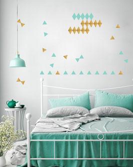 Stickers muraux triangles vert menthe et dorés Pom le bonhomme