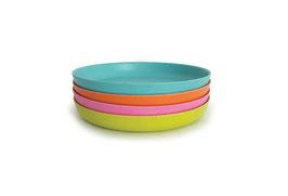 Set de 4 assiettes Bambino by Biobu variante vert anis/rose/orange/turquoise