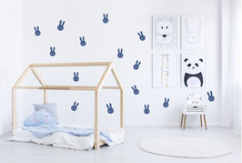 Stickers muraux lapins bleus Pom le bonhomme