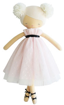 Poupée ballerine Scarlett avec pompons, robe rose pastel et ivoire 50cms