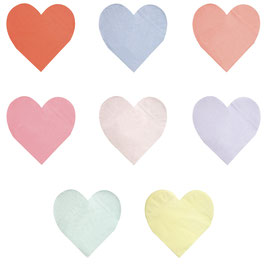 20 Grandes Serviettes Coeurs Pastels Acidulés Meri Meri