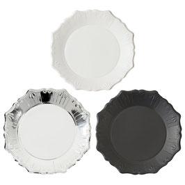 12 assiettes coloris blanc, noir et argent avec relief