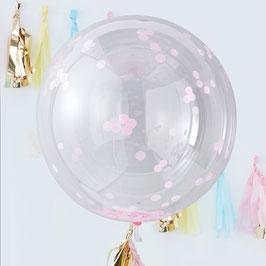 3 ballons géants transparents avec confettis roses à l'intérieur