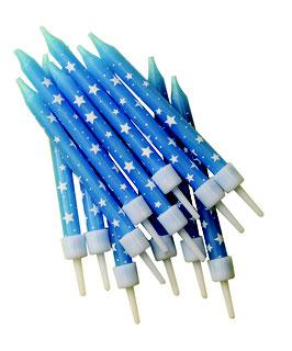 12 bougies anniversaire bleues avec étoiles blanches