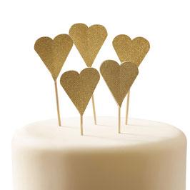 10 Piques gateau coeur doré