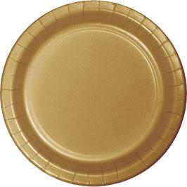 24 assiettes dessert en carton dorées diamètre 17 cms