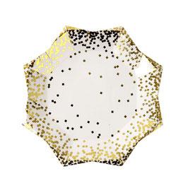 8 petites assiettes en forme d'étoile avec plumetis dorés Meri Meri