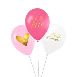 """3 ballons """"C'est une fille"""" , coeur, bébé d'amour"""