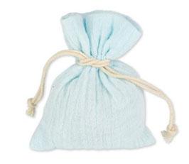 4 Pochons Mousseline de Coton Bleu Ciel