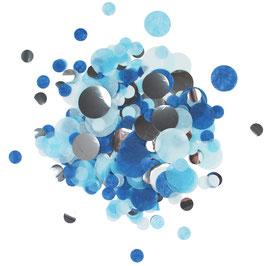 Mélange de Confettis de table bleus argent