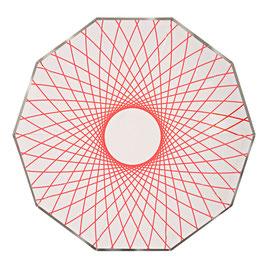 8 assiettes avec dessin géométrique fluo Meri Meri