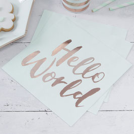"""20 serviettes vert menthe avec écriture """"Hello world """"rose gold"""