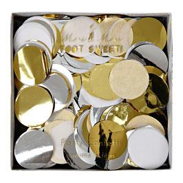 Pack de confettis blancs, dorés, argentés diamètre 2cms Meri Meri
